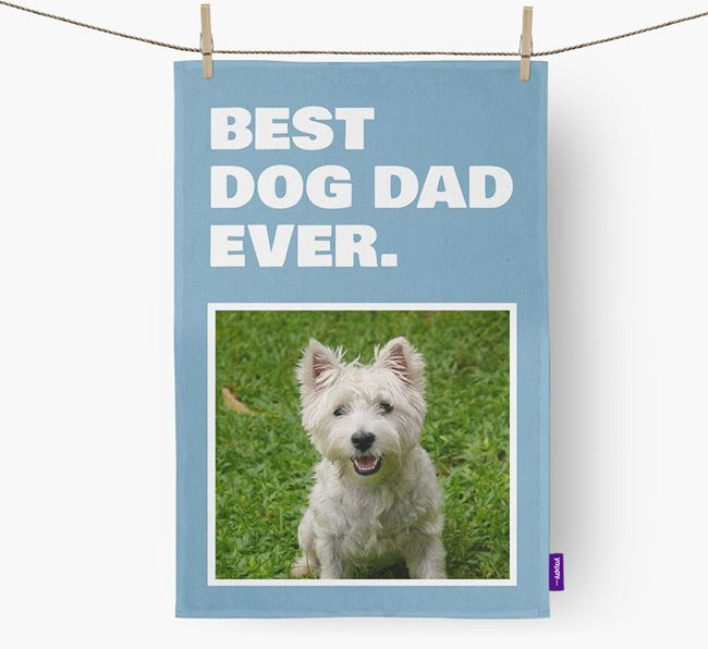 'Best Dog Dad Ever' - Personalized West Highland White Terrier DIsh Towel