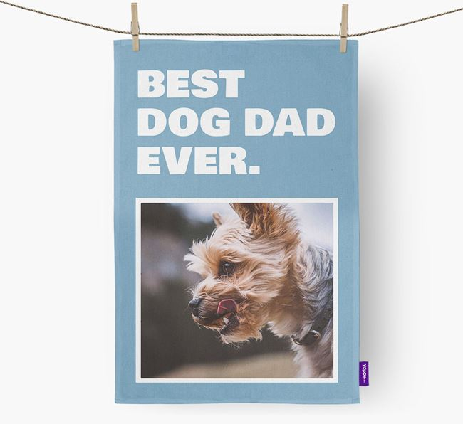 'Best Dog Dad Ever' - Personalized Yorkshire Terrier DIsh Towel