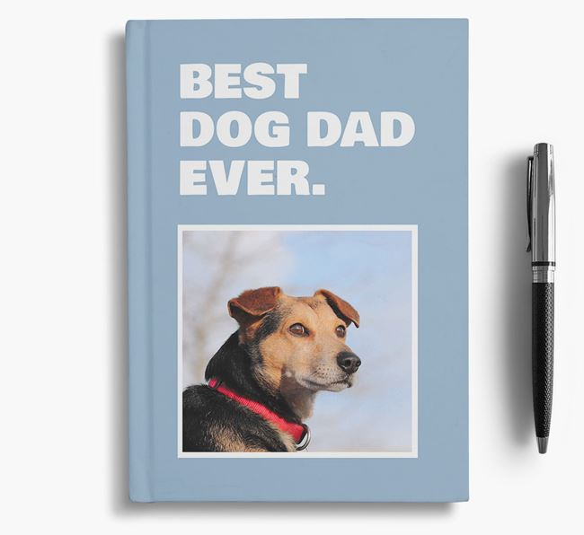 'Best Dog Dad Ever' - Personalized Blue Lacy Notebook