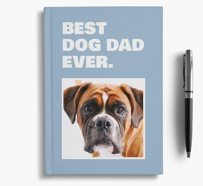 'Best Dog Dad Ever' - Personalized Boxer Notebook