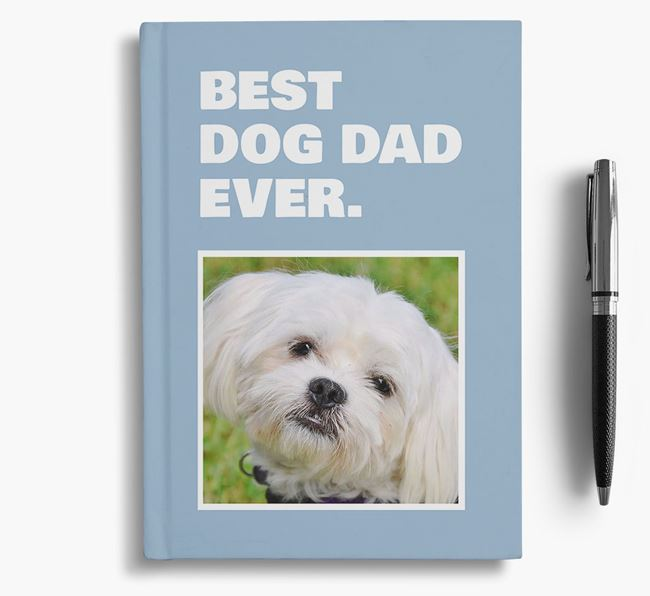 'Best Dog Dad Ever' - Personalized Maltese Notebook