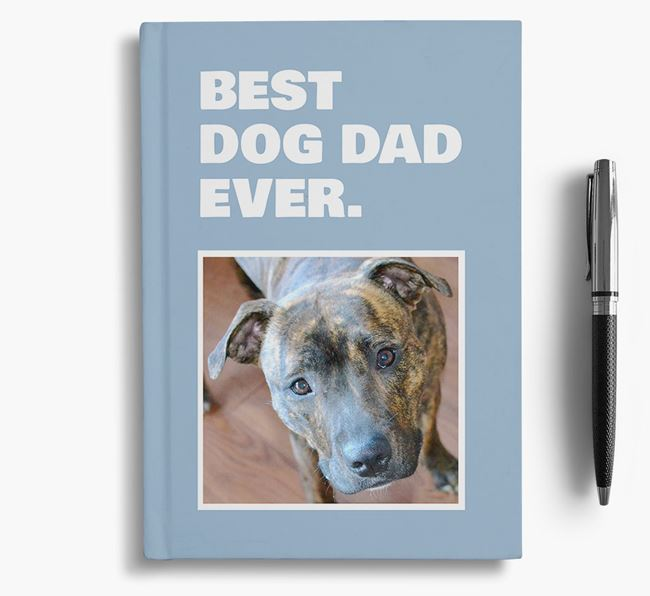 'Best Dog Dad Ever' - Personalized Staffordshire Bull Terrier Notebook