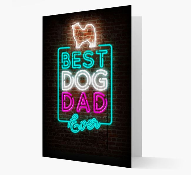 'Neon Best Dog Dad Ever' - Keeshond Card