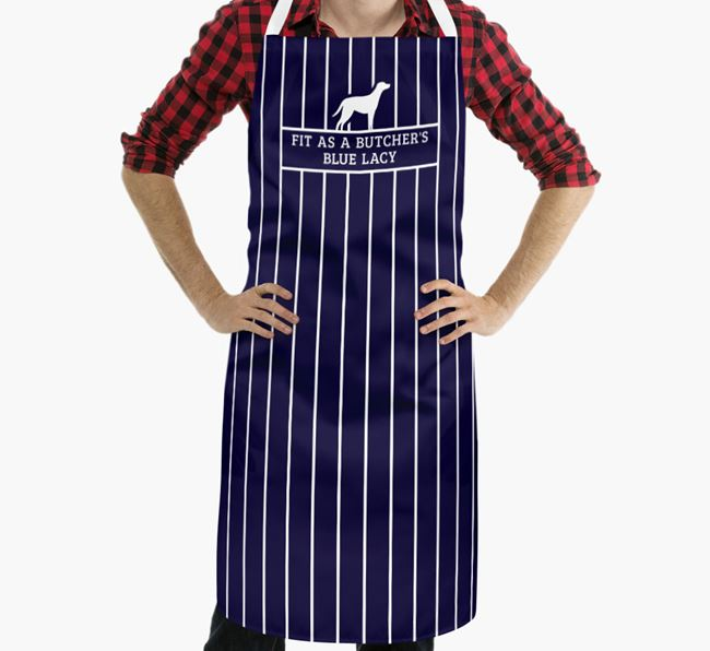 'Fit As a Butcher's...' - Personalized Blue Lacy Apron