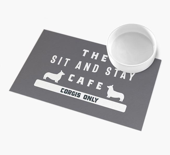 'Sit and Stay Cafe' - Personalised Corgi Feeding Mat