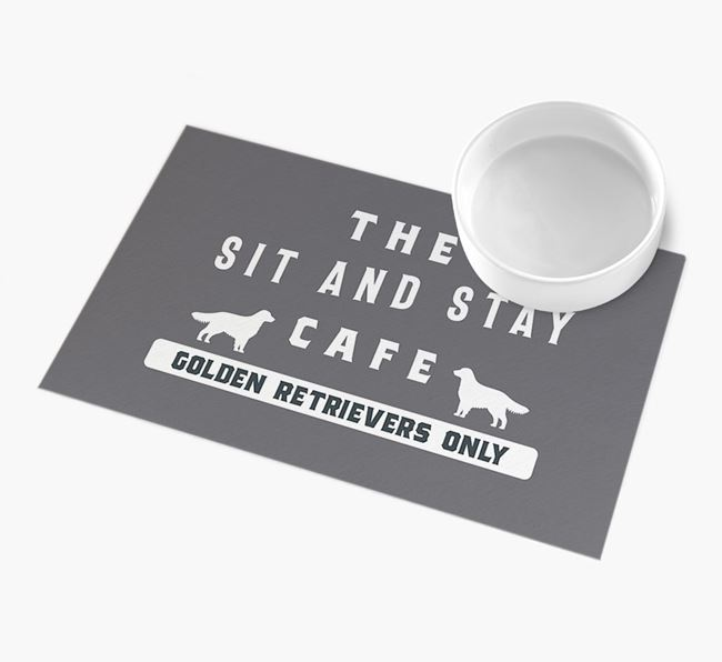 'Sit and Stay Cafe' - Personalised Golden Retriever Feeding Mat