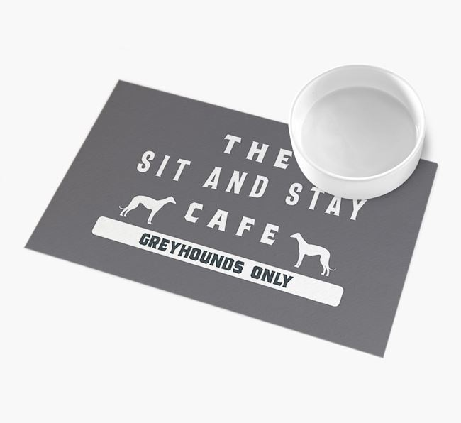 'Sit and Stay Cafe' - Personalised Dog Feeding Mat