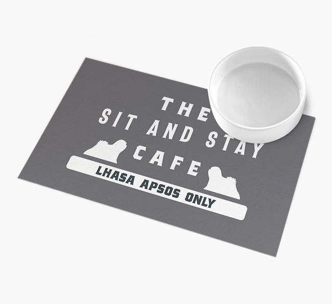 'Sit and Stay Cafe' - Personalised Lhasa Apso Feeding Mat