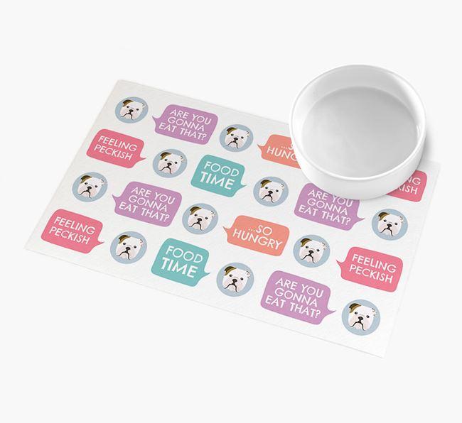 'Speech Bubbles' - Personalised English Bulldog Feeding Mat