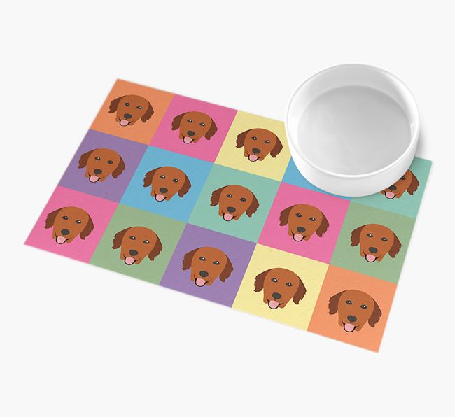 Personalied Icon Pattern- Personalised Golden Retriever Feeding Mat