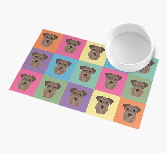 Personalied Icon Pattern- Personalised Schnauzer Feeding Mat