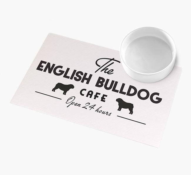 'The English Bulldog Cafe' - Personalised English Bulldog Feeding Mat
