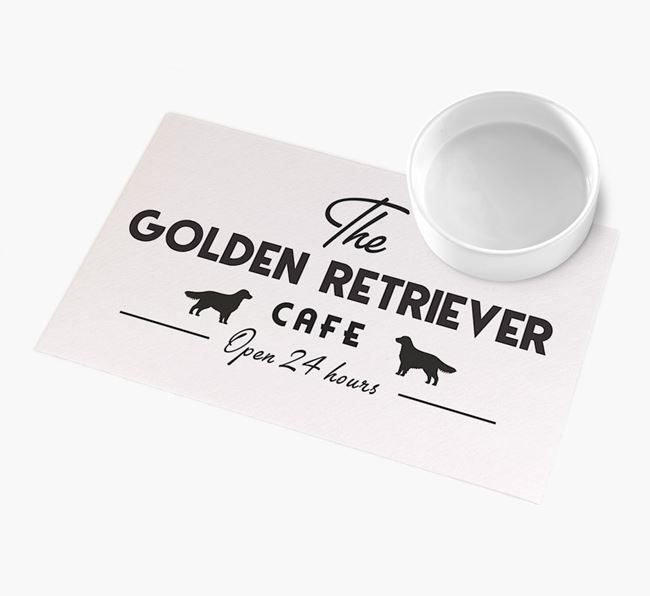 'The Golden Retriever Cafe' - Personalised Golden Retriever Feeding Mat