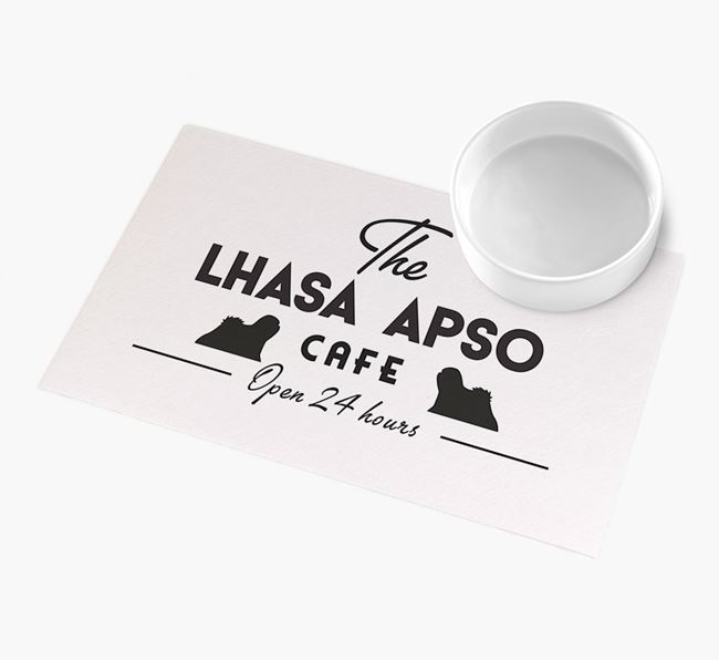'The Lhasa Apso Cafe' - Personalised Lhasa Apso Feeding Mat