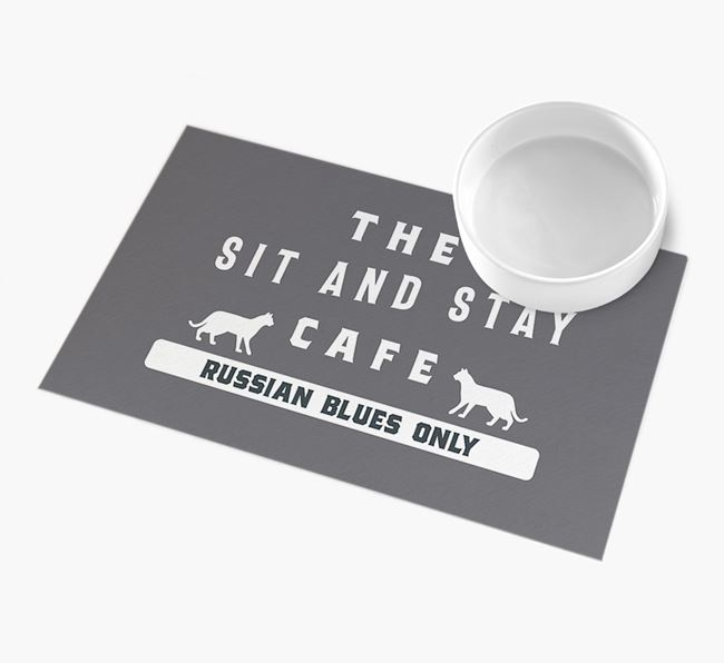 'Sit and Stay Cafe' - Personalised Cat Feeding Mat