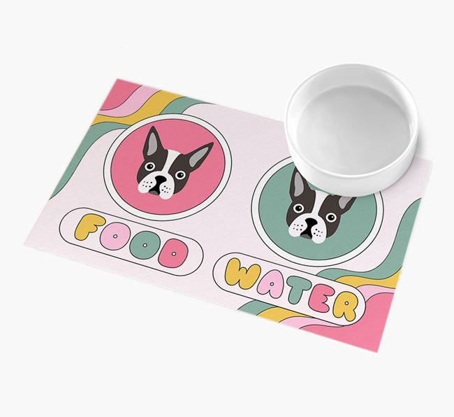 'Rainbow Icons' - Personalised Dog Feeding Mat
