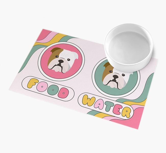 'Rainbow Icons' - Personalised English Bulldog Feeding Mat