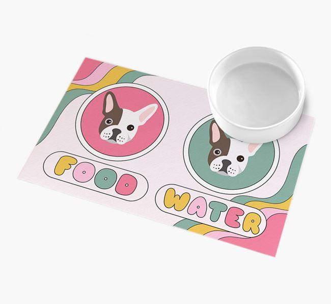 'Rainbow Icons' - Personalised French Bulldog Feeding Mat