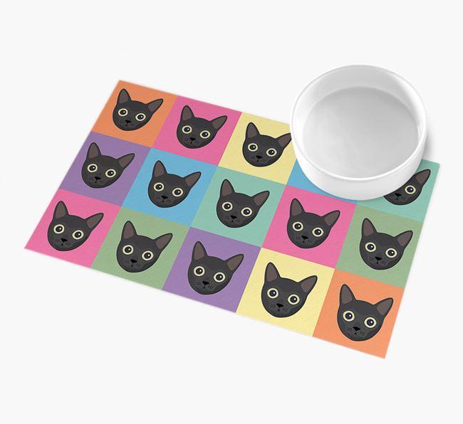 Personalised Icon Pattern - Personalised Cat Feeding Mat