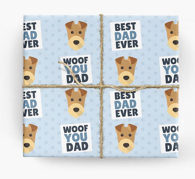 'Woof You Dad' - Personalized Airedale Terrier Wrapping Paper