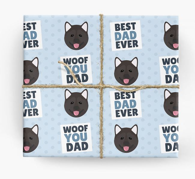 'Woof You Dad' - Personalized Akita Wrapping Paper