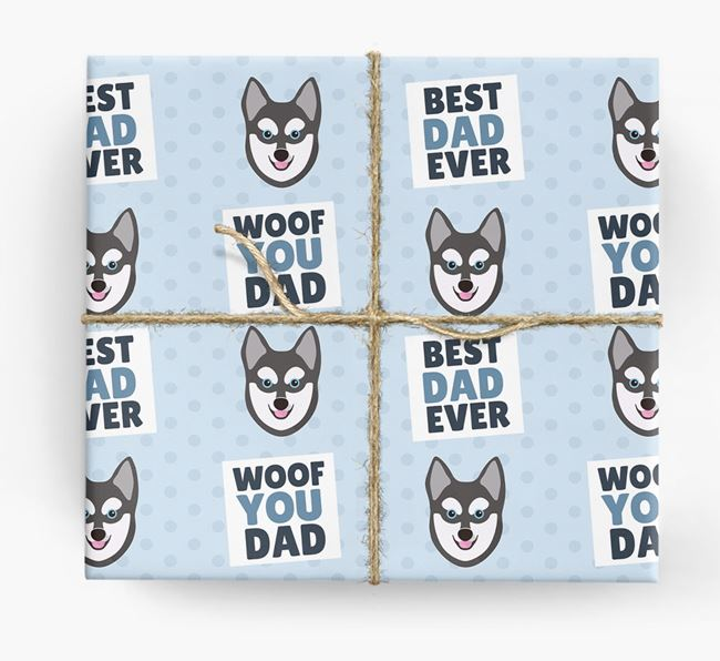'Woof You Dad' - Personalized Alaskan Klee Kai Wrapping Paper