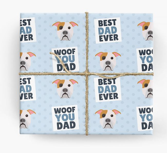 'Woof You Dad' - Personalized American Bulldog Wrapping Paper