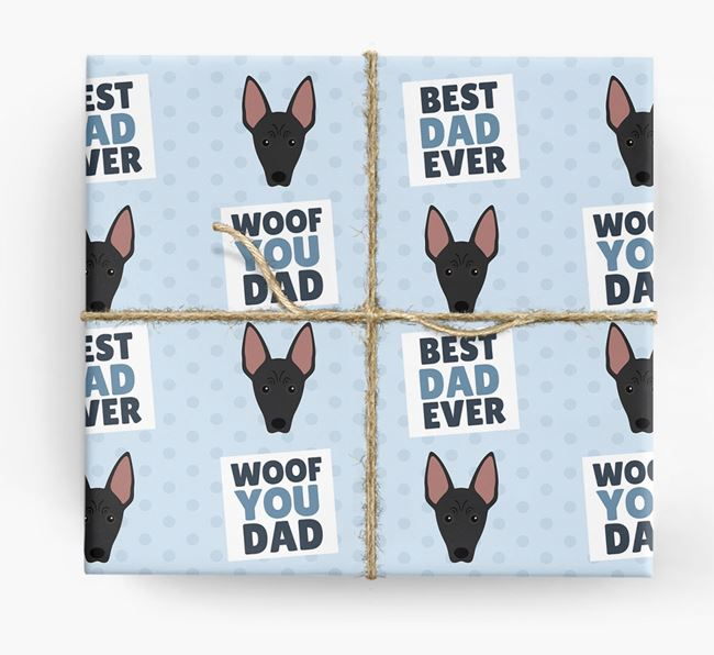 'Woof You Dad' - Personalized American Hairless Terrier Wrapping Paper