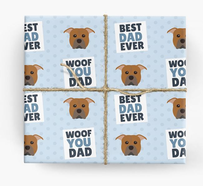 'Woof You Dad' - Personalized American Pit Bull Terrier Wrapping Paper
