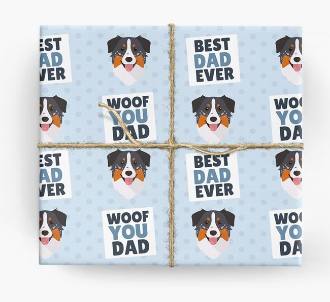 'Woof You Dad' - Personalized Australian Shepherd Wrapping Paper