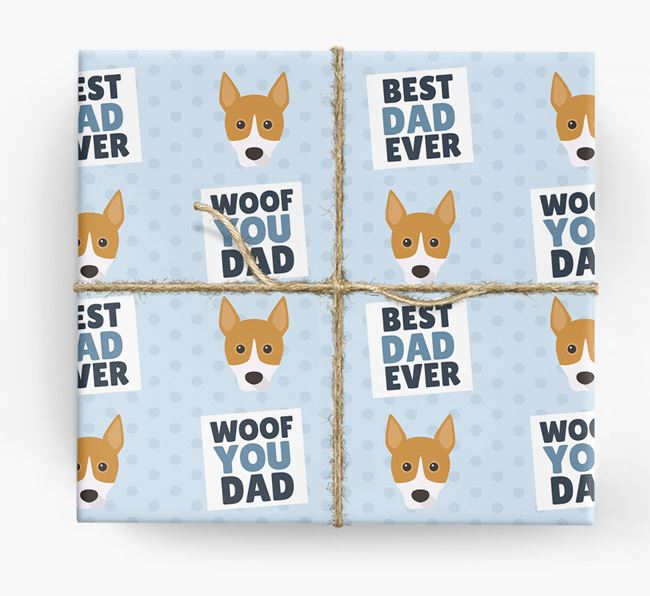 'Woof You Dad' - Personalized Basenji Wrapping Paper