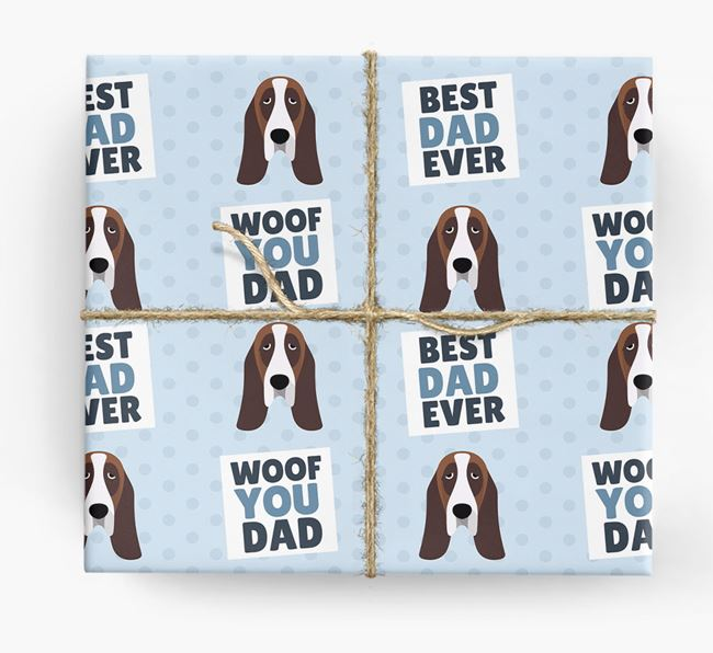 'Woof You Dad' - Personalized Basset Hound Wrapping Paper