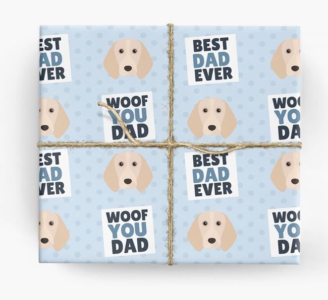 'Woof You Dad' - Personalised Beagle Wrapping Paper