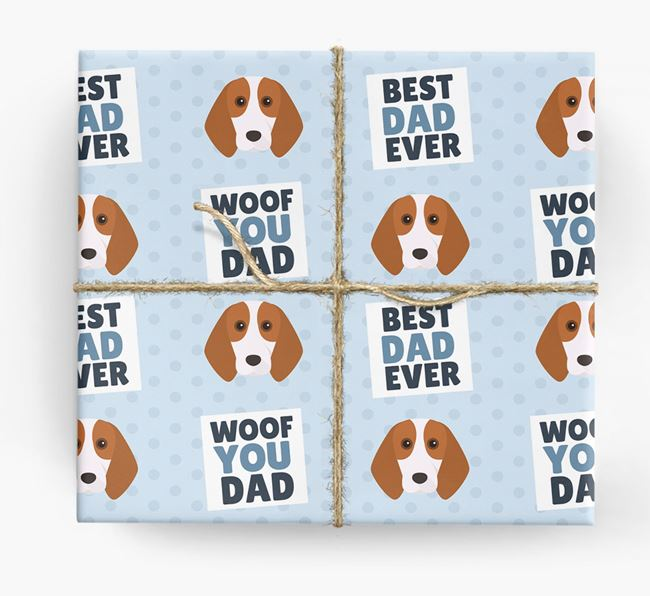 'Woof You Dad' - Personalized Beagle Wrapping Paper