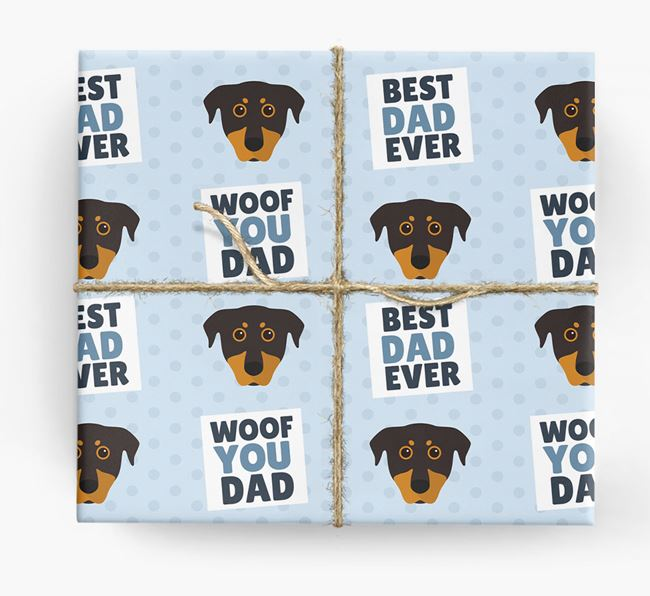 'Woof You Dad' - Personalized Beauceron Wrapping Paper