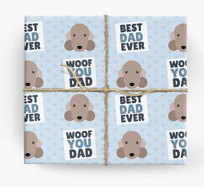 'Woof You Dad' - Personalized Bedlington Terrier Wrapping Paper