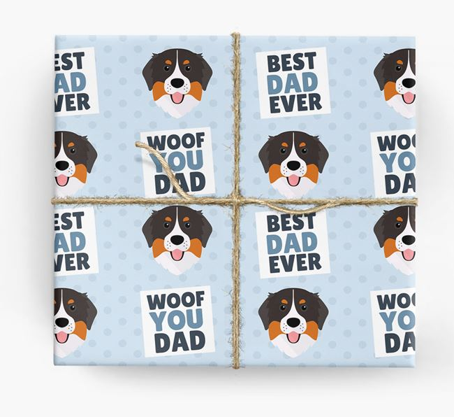 'Woof You Dad' - Personalised Bernese Mountain Dog Wrapping Paper