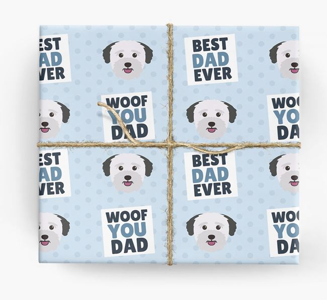 'Woof You Dad' - Personalized Bichon Yorkie Wrapping Paper