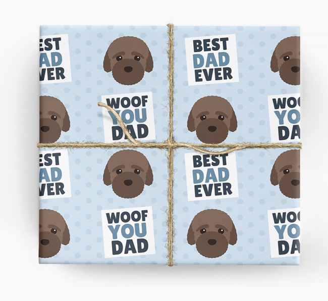 'Woof You Dad' - Personalized Bich-poo Wrapping Paper