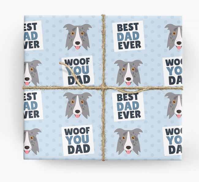 'Woof You Dad' - Personalized Border Collie Wrapping Paper