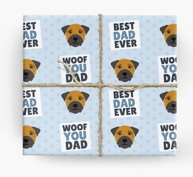 'Woof You Dad' - Personalized Border Terrier Wrapping Paper