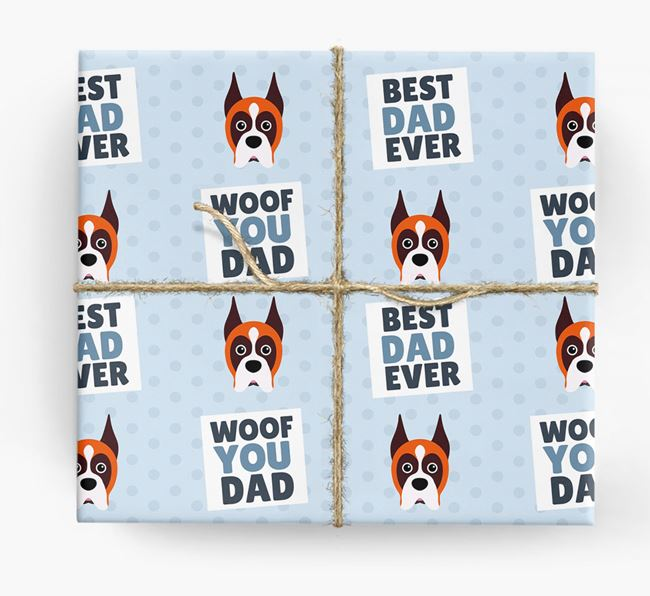 'Woof You Dad' - Personalized Boxer Wrapping Paper