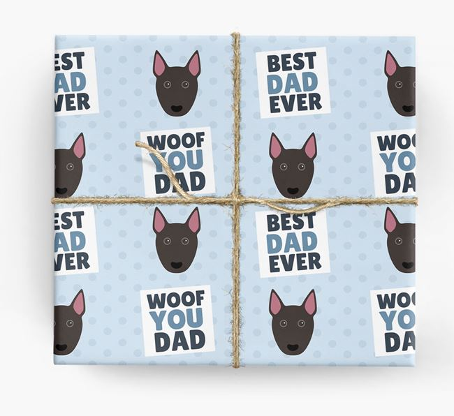 'Woof You Dad' - Personalized Bull Terrier Wrapping Paper