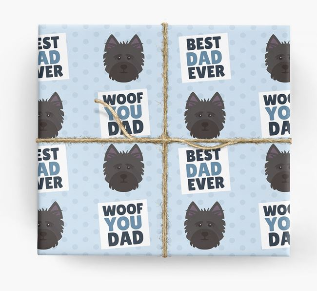 'Woof You Dad' - Personalized Cairn Terrier Wrapping Paper