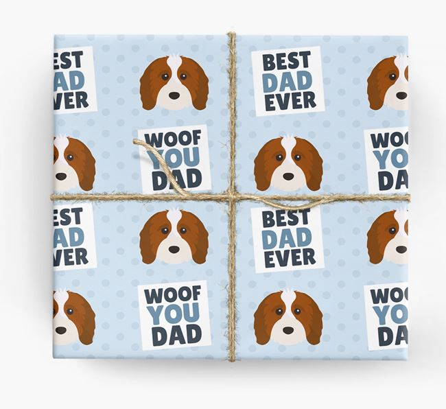 'Woof You Dad' - Personalized Cavapoo Wrapping Paper