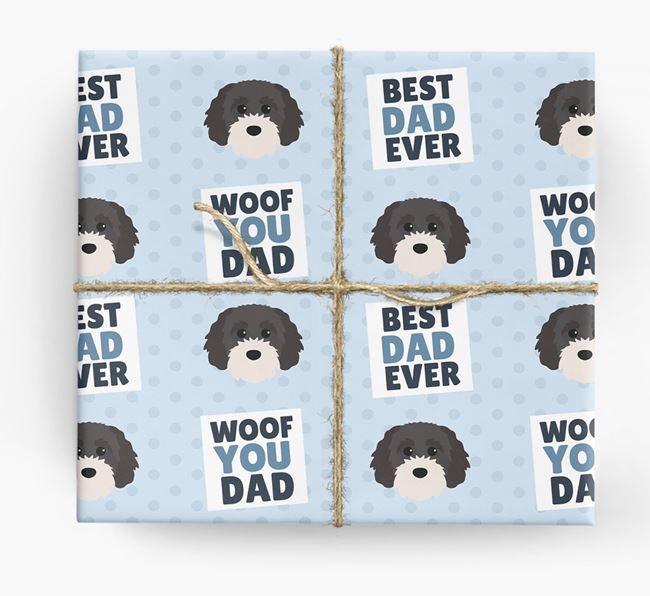 'Woof You Dad' - Personalized Cavapoochon Wrapping Paper