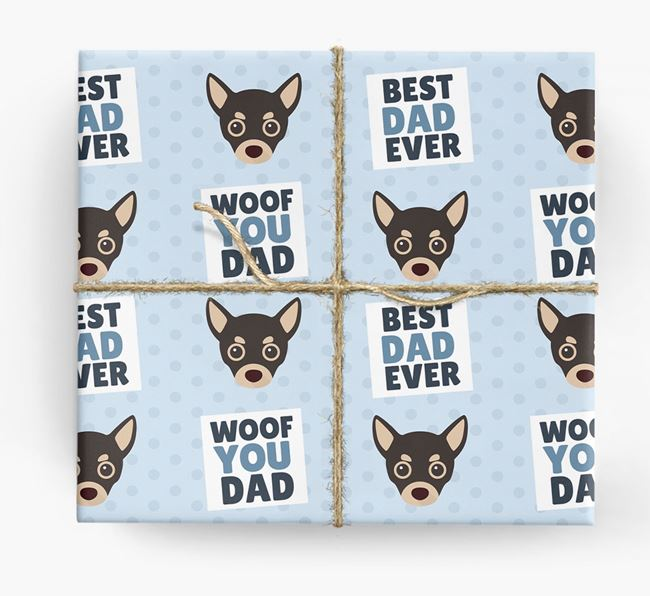 'Woof You Dad' - Personalized Chihuahua Wrapping Paper
