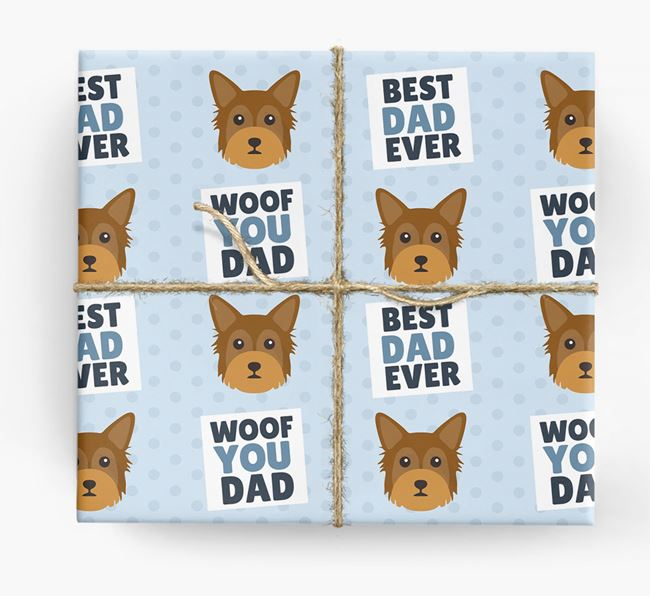'Woof You Dad' - Personalized Chorkie Wrapping Paper