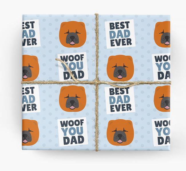 'Woof You Dad' - Personalized Chow Chow Wrapping Paper