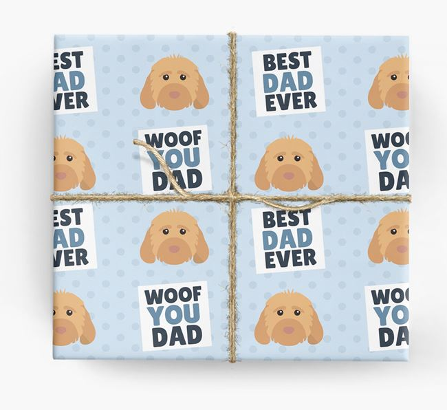 'Woof You Dad' - Personalized Cockapoo Wrapping Paper